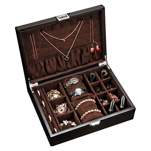 Vue de 3/4 de la boîte à bijoux en bois fait main (ouverte, avec bijoux)