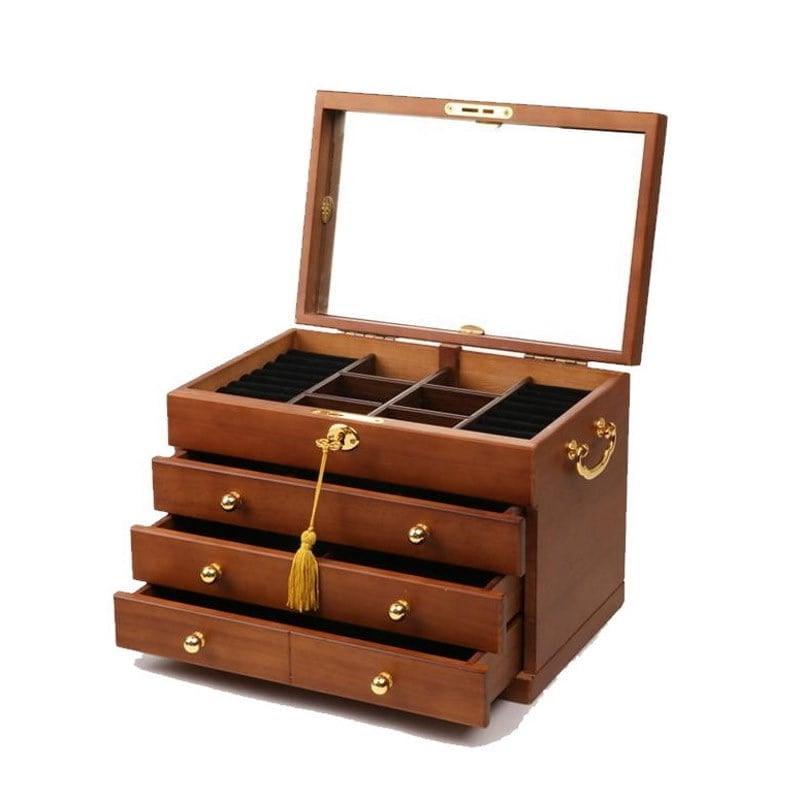Vue de 3/4 de la boîte à bijoux en bois brut (couvercle et tiroirs ouverts, sans bijoux)