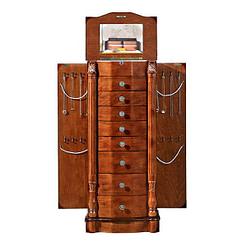 Vue de face de la boîte à 8 tiroirs (couvercle, portes latérales et tiroirs ouverts)