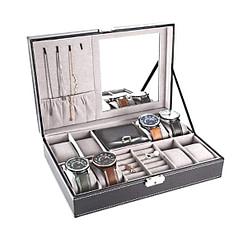 Vue de 3/4 de la boîte à bijoux en cuir 8 montres et miroir (ouverte, avec bijoux)