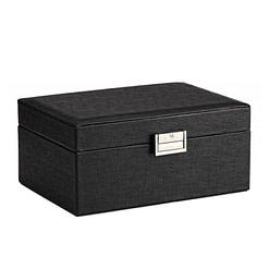 Vue de 3/4 de la boîte à bijoux en cuir de luxe (fermée)