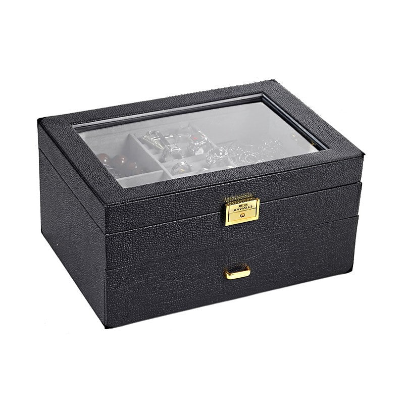 Vue de 3/4 de la boîte à bijoux en cuir moderne (fermée)