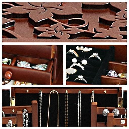 Détails de la grande boîte à bijoux à compartiments (gravures, intérieur...)