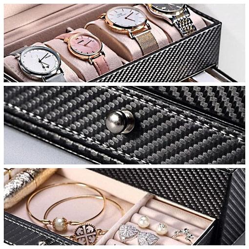 Collage de 3 photos présentant les détails de la boîte (poignée et compartiments entrouverts)