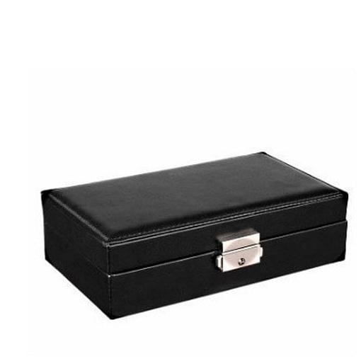 Vue de 3/4 de la boîte à bijoux femme cuir (fermée)