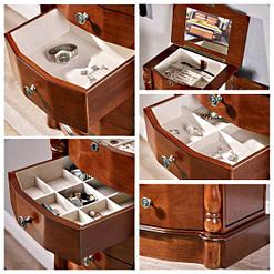 collage de 5 photos détaillant les tiroirs, pied et compartiment sup. de la boîte