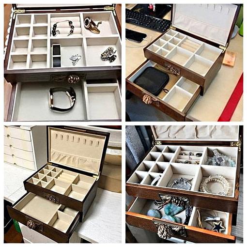 Détails de la boîte à bijoux en bois sculpté (compartiments)