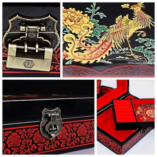 Collage de 4 photos : cadenas (x2), dessus et plateau amovible de la boîte 'Phénix doré'