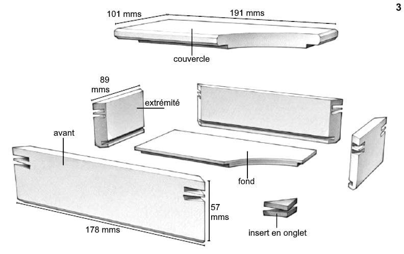 Schéma coté des différentes parties de la boîte à bijoux en bois rectangulaire finie