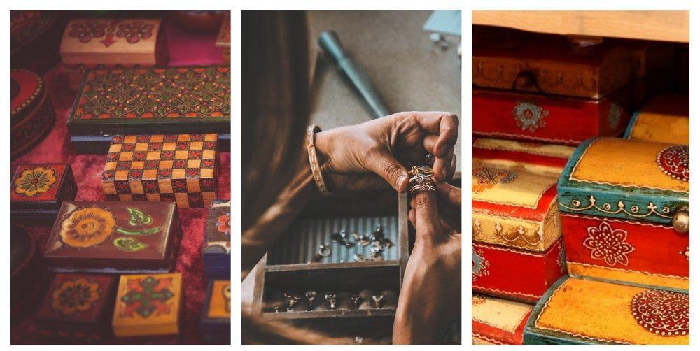 Assemblage de photos présentant de nombreuses boîtes et un artisan