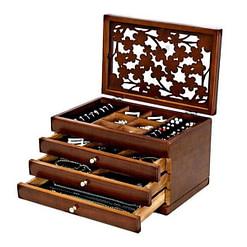 Vue de 3/4 de la grande boîte à bijoux en verre et bois couvercle et tiroirs ouverts