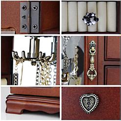 Collage de 6 photos présentant des détails de la grande boîte à bijoux avec vitre et tiroirs (charnière, poignées, pied...)
