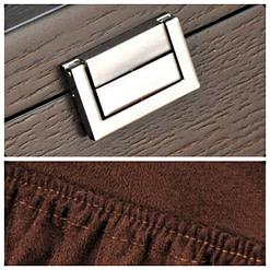 Détails de la boîte à bijoux en bois fait main (fermoir et pochette)