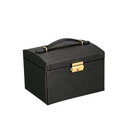 Vue de 3/4 de la boîte à bijoux en cuir (fermé)