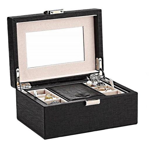Vue de 3/4 de la boîte à bijoux en cuir de luxe (couvercle ouvert)