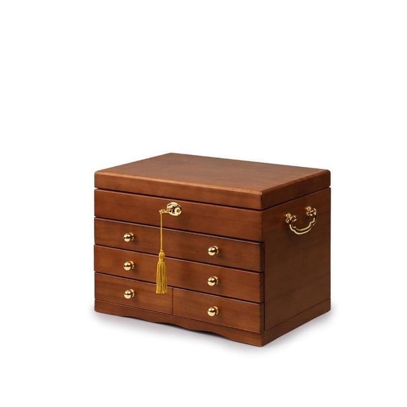 Vue de 3/4 de la grande boîte à bijoux en bois brut