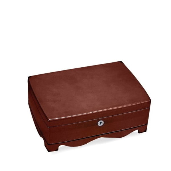 Vue de 3/4 de la boîte en bois vintage (fermée)
