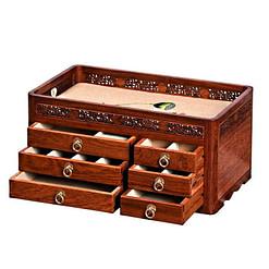 Vue de 3/4 de la grande boîte à bijoux en bois originale (avec tiroirs ouverts)