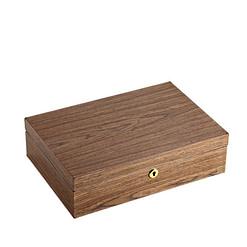 Vue de 3/4 de la boîte à bijoux bois compartiment et montres (fermée)