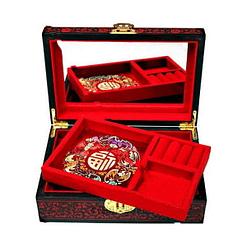 Boîte laquée ouverte présentant miroir et plateau amovible