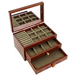 Vue de 3/4 de la boîte à bijoux en bois avec miroir (ouverte)