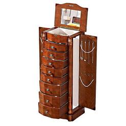 Vue de 3/4 de la boîte à 8 tiroirs (couvercle, portes latérales et tiroirs ouverts)