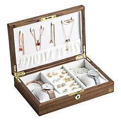 Vue de 3/4 de la boîte à bijoux bois bagues et montres (ouverte)
