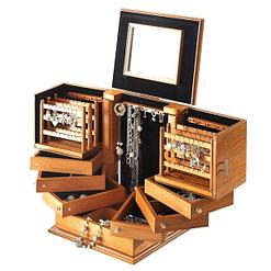 Vue de 3/4 de la grande boîte à bijoux en bois exotique (ouverte)