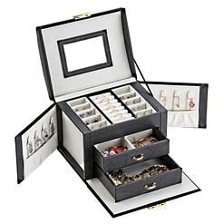 Vue de 3/4 de la boîte à bijoux femme cuir (ouverte)