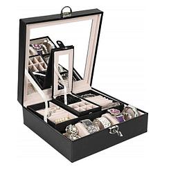 Vue de 3/4 de la boîte à bijoux simili cuir (les 2 couvercles ouverts)