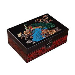 Vue de 3/4 de la boîte à bijoux originale 'Paon' (fermée)
