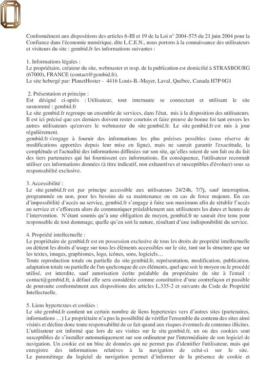 mentions légales 1/2