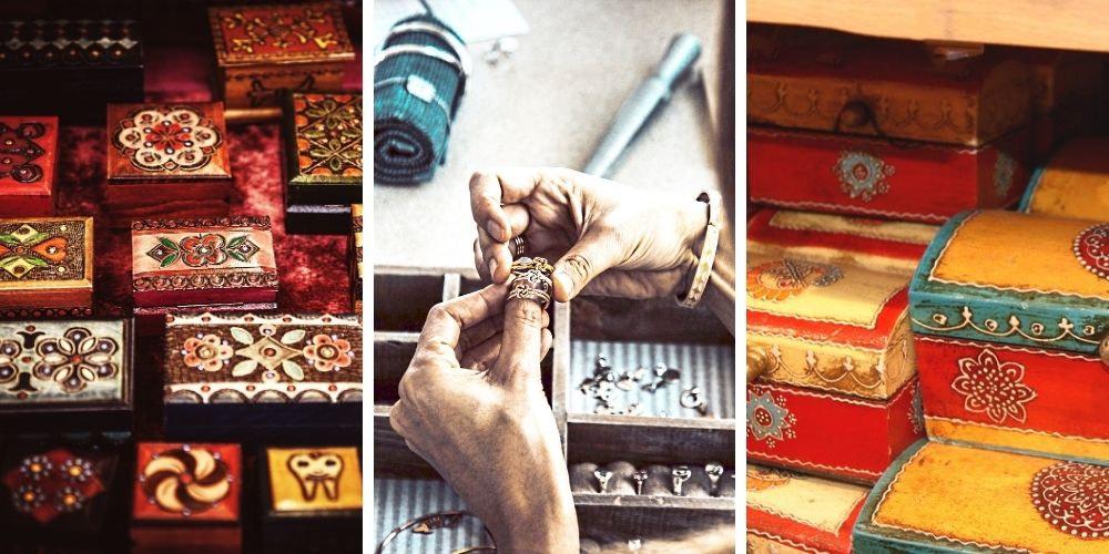 """Collage de 3 photos présentant la collection """"boîtes à bijoux originales"""" de Gembid"""