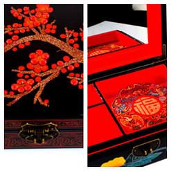 Collage de 2 photos : dessus & intérieur de la boîte 'Cerisier'
