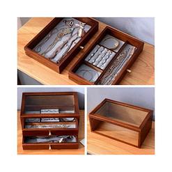 Collage de 3 photos détaillant la boîte en bois avec tiroirs