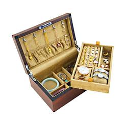 Vue de 3/4 de la boîte en bois de luxe (ouverte)
