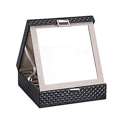 Vue de 3/4 de la boîte à bijoux en cuir matelassé (entrouverte, avec miroir déployé)