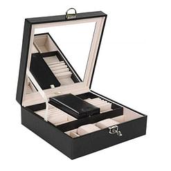 Vue de 3/4 de la boîte à bijoux simili cuir (couvercle ouvert)