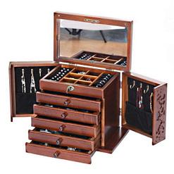 Vue de 3/4 de la boîte de luxe (couvercle, portes latérales et tiroirs ouverts)