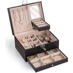 Vue de 3/4 de la boîte à bijoux en cuir à losanges (ouverte)