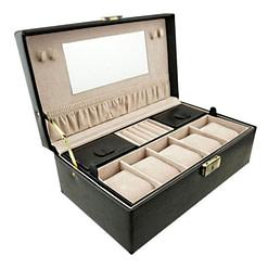 Vue de 3/4 de la boîte à bijoux en cuir pour montres (ouverte)