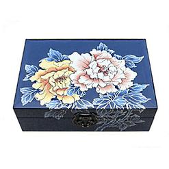 Vue de dessus de la boîte à bijoux originale bleue '2 pivoines'