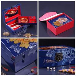Collage de 4 photos de détails de la boîte à bijoux originale bleue '2 pivoines' présentée ouverte, avec plateau supérieur déposé et bijoux