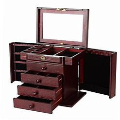 Vue de 3/4 de la grande boîte à bijoux en bois précieux (ouverte, sans bijoux)