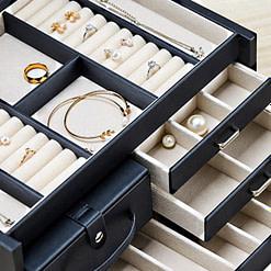 Détails de la boîte à bijoux en cuir modulable (compartiments)