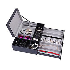 Vue de 3/4 de la boîte à bijoux en cuir tendance (tous compartiments ouverts, avec bijoux)