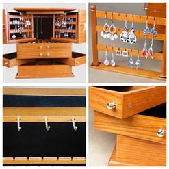 Collage de 4 photos de la grande boîte à bijoux en bois exotique (détails intérieurs et extérieurs)