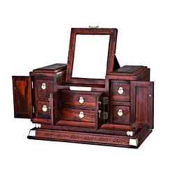 Vue de 3/4 de la grande boîte à bijoux en bois sculpté (ouverte, avec miroir)