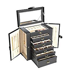 Vue de 3/4 de la boîte à bijoux en cuir à 5 tiroirs (ouverte)