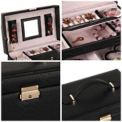 Collage de 4 photos présentant des détails de la boîte à bijoux en cuir noir (extérieur et compartiments)